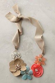Flower Ribbon Necklace