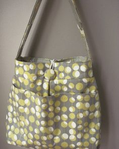 Grey Diaper Bag Six Pockets    Reversible    by retrofied on Etsy, $70.00
