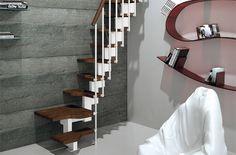 Trio 180° es la escalera ahorradora de espacio de diseñador, nace de la colaboración entre Rintal y Giugiaro para valorizar los espacios reducidos.