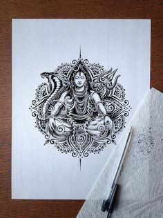 shiva art by Bennett-Klein Mandala Art Lesson, Mandala Doodle, Mandala Drawing, Mandala Tattoo, Doodle Art, Mandala Book, Arte Shiva, Shiva Art, Hindu Art