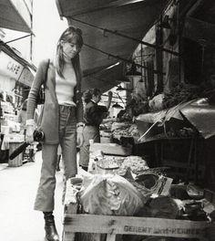 Françoise Hardy at the market, rue Mouffetard in Paris, photographed by Gérard Bousquet. 1972