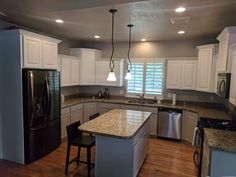 Two tone kitchen custom white on top and Sherwin Williams mindful gray on bottom by Chameleon Painting SLC UT. Furniture, Refinishing Cabinets, Home, Cabinet, Two Tone Kitchen, Refinishing Furniture, Kitchen, Laundry Room Cabinets, Mindful Gray