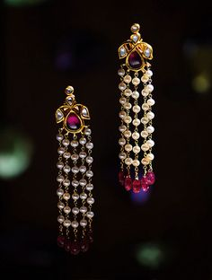 Buy Ruby and Pearl Polki Gold Earrings Online at Jaypore.com