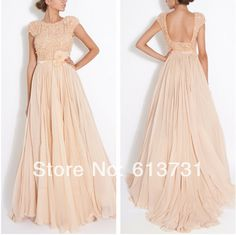 2014 New Arrival Fashion Scoop Neckline Short Sleeves Peach Sequins Top A Line Long Prom Dresses Backless Evening Gowns