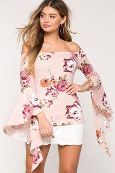Women's Blouses | Mila Floral Bell Sleeve Top | A'GACI