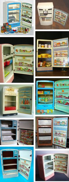 Vintage tin litho toy refrigerator collection.