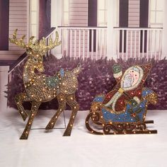 outdoor lighted christmas yard decoration sleigh with santa xmas decor original ebay outdoor reindeer - Outside Reindeer Christmas Decorations