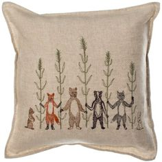 The Harvest Pillow is hand embroidered onto natural linen. Made in Brooklyn by Coral & Tusk