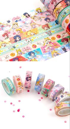 Japanese Washi Tape, Sailor Moon Crystal Anime Manga Washi Tape 8 Designs to Choose From Sample or Paper Mulberry, Masking Tape, Washi Tapes, Duct Tape, Cute Stationary, Stationary Design, Duck Tape Crafts, Japanese Stationery, Kawaii Room
