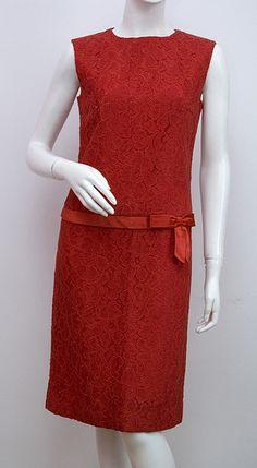 #Vintage #Vintage #Vintage ... see more: http://shop.1960sfashion... ...Drop Waist Lace Evening Dress c.1960s