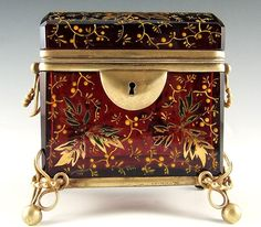Antique Moser Enameled Ruby Glass & Bronze Sugar Casket