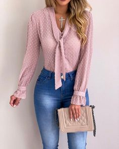 Cysincos chiffon blouses women 2019 autumn fashion long sleeve v-neck pink shirt office blouse slim casual tops female plus size cysincos chiffon blouses women 2019 autu by Casual Tops, Casual Shirts, Casual Outfits, Cute Outfits, Formal Outfits, Classy Outfits, Trend Fashion, Autumn Fashion, Fashion Outfits