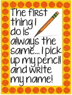 """""""The first thing I do...write my name!"""" {a poster} FREE TPT"""