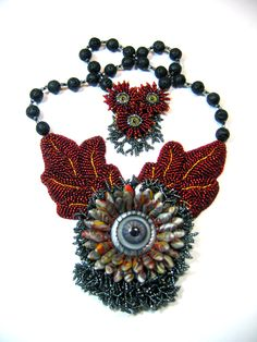 Mojo a bead embroidered necklace by Yoli Pastuszak