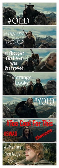I watched all three movies yesterday, and I noticed this. You're welcome. :) ~Samantha Morton #Lord of the Rings #Humor