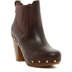 UGG Australia Carberry UGGpure(TM) Boot ($150) ❤ liked on Polyvore featuring shoes, boots, ankle booties, ankle boots, mah, round toe ankle boots, short high heel boots, high heel ankle booties, studded boots and slip on boots