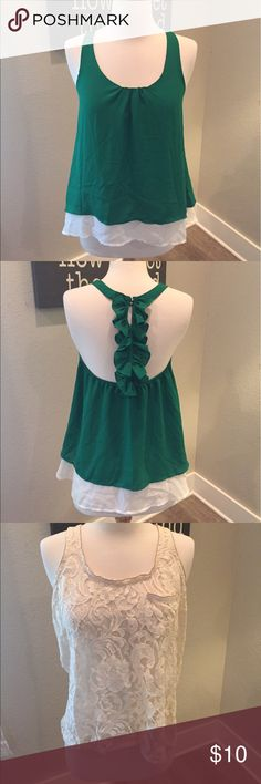 2 TANK TOPS! An emerald green one and a lace one. The (1) tank is emerald green with a white liner and a ruffled back. The (2) tank is a a creme lace tank with a pocket. Tops Tank Tops