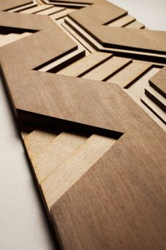 Sculptural Wood Surfaces by Anthony Roussel - Design Milk Wood Surface, Surface Design, Wooden Wall Art, Wood Wall, 3d Wall Tiles, Wood Texture, Ceiling Design, Textures Patterns, Decoration