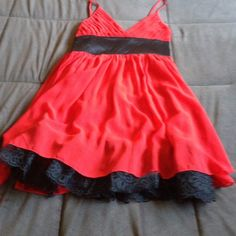 ❤️Red & Black Dress w/Lace Trim at Bottom❤️ ❤️Red & Black Dress w/Lace Trim at Bottom❤️ SEXT‼️ With red silky belt!‼️NO TRADE‼️ USE OFFER BUTTON PLEASE‼️ Dresses