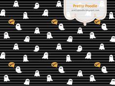 Ghost Pattern { Black x Stripe } #Halloween  http://prettypoodle.blogspot.jp/2013/10/ghost.html