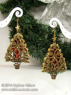 "O, Christmas Tree Earrings - Mill Lane Studio Tutorial - 12 Days of Christmas 2.75"" - Use smaller stamped filigree for less"
