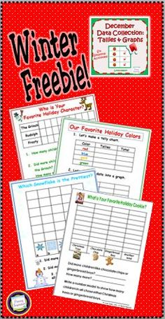 FREE Six winter and holiday graphs to assemble into a display or class book - book cover included!  https://www.teacherspayteachers.com/Product/December-Data-Collection-Tallies-and-Graphs-169729