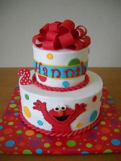 Hannah's Elmo Cake - Made to match party invitations...WASC cake with Sugarshack recipe vanilla BC.  Fondant and gumpaste decorations...TFL!