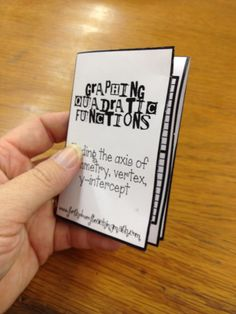 FREEBIE mini book station activity for teaching students to graph quadratic functions!