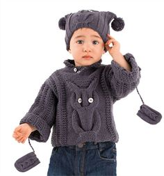 Babies Knitting Patterns Owl Sweater, Hat & Mittens Pattern