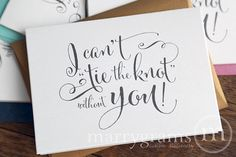 Will You Be My Bridesmaid Cards I Can't Tie the Knot Without You - Maid of Honor, Wedding Party Fun Card to Ask Bridesmaid - CS07 (Set of 8)...