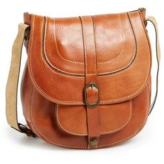 Patricia Nash 'Barcellona' Leather Crossbody Bag ($199) ❤ liked on Polyvore featuring bags, handbags, shoulder bags, tan, tan leather purse, crossbody handbags, leather crossbody purse, brown crossbody purse and leather cross body purse
