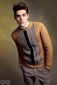 Beige checkered jumper with matching pants.
