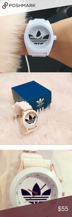 ⚡️Adidas Firebird Originals White rubber watch ⚡️Adidas Originals Firebird white & gold rubber band watch.  - Adidas sports watches - Origional Trefoil Santiago line works  - womans fit - box included.  - White rubble adjustable band  - White background w