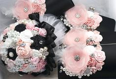 Brooch Bouquet and Bridesmaids Clutches in Blush Pink, White and Black. $710.00, via Etsy.