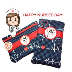 Check out GIFT FOR NURSE 2 Piece Set Small Zipper Pouch Eyeglass Case Red White Blue Monitor Medicine Bag Makeup Bag Nurses Day Gift Change Purse on sewsationalstitches