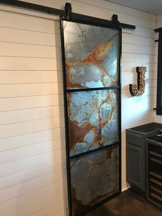 Farm Door, Diy Barn Door, Barn Door Hardware, Industrial Interior Design, Industrial Metal, Industrial Window Treatments, Single Door Design, Bathtub Decor, Mirror Decal