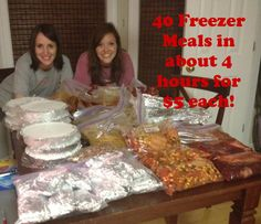 Make 40 Affordable, Healthy, Easy Freezer Meals in about 4 hours! -- this sounds like a fun thing to do with some friends. wish i had a chest freezer tho!!