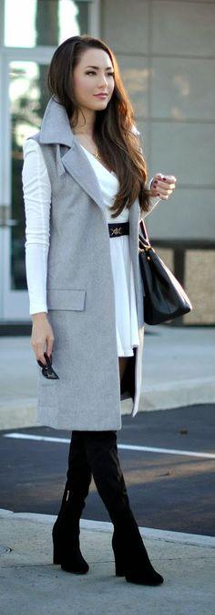 Grey Woolen Sleeveless Coat by Hapa Time