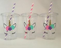 Unicorn Party Cups, Unicorn eyelash party, unicorn birthday party, Unicorn Baby Shower