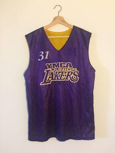 2dbbc638cc85 Items similar to Vintage Basketball Jersey Los Angeles Lakers Jersey YMCA  Shirt Reversible Jersey 90s Hip Hop Clothing 90s Hip Hop Party 90s Shirt on  Etsy
