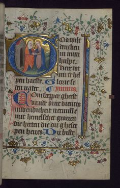 This illuminated Book of Hours was produced in the second quarter of the fifteenth century. It is written in the Netherlandish translation of Geert Grote. Although lacking in full-page miniatures, the manuscript contains eighteen historiated initials by the Masters of Zweder van Culemborg with ornamental initials and decoration throughout. Image source: Walters Museum W188