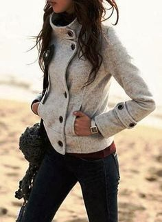 Grey Patchwork Band Collar Single Breasted Slim Fashion Coat