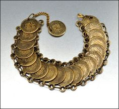 1940 Vintage jewelry | Vintage Brass Chinese Coin Bracelet 1940s Jewelry by boylerpf