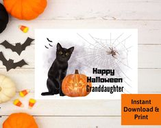 Halloween Card for Granddaughter, Printable Digital Download by PSILoveYouInspires on Etsy
