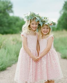 Amp up the adorable factor by fashioning your flower girl in a soft and delicate flower crown for your wedding.