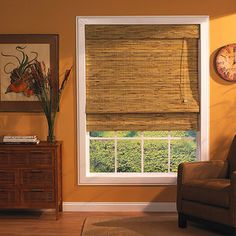 Bamboo Window Roman Shade, Kona Natural. Bamboo blinds for the great room & kitchen windows to pick up the caramel paint on the stairway wall.