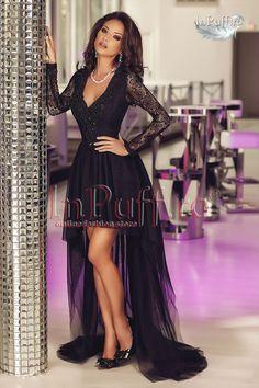 Rochie cu trena tul negru dantela ideala pentru un eveniment special