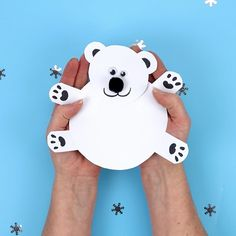 This Moving Polar Bear Cub Craft is just darling! Cradle it in your hands and move its head from side to side to bring it to life. Such a fun Winter craft for kids. (Free Printable Template) Source by kidscraftroom Animal Crafts For Kids, Winter Crafts For Kids, Paper Crafts For Kids, Winter Kids, Preschool Crafts, Fun Crafts, Art For Kids, Craft Kids, Children Crafts