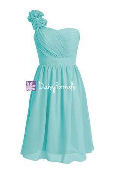 Floral One Shoulder Bridesmaid Dress Short Knee Length Aqua Party Dress (BM102)