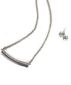 Silver Crystal Bar Necklace with Earrings